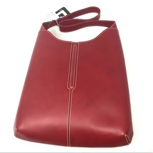 🆕 LANCEL Paris red leather hobo purse